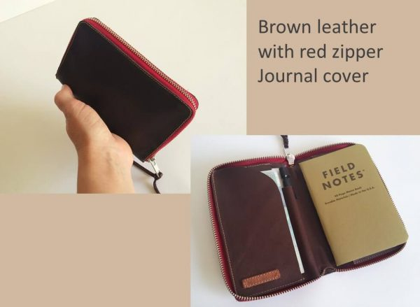 Personalized zipped journal cover brown and red inside