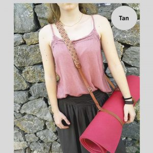 Yoga tan leather strap worn