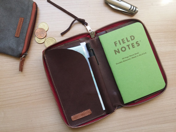 Personalized zipped journal cover brown with journal inside