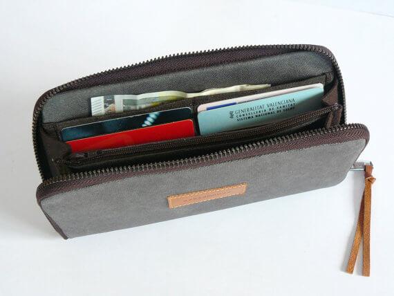 Gray waxed canvas wallet capacity