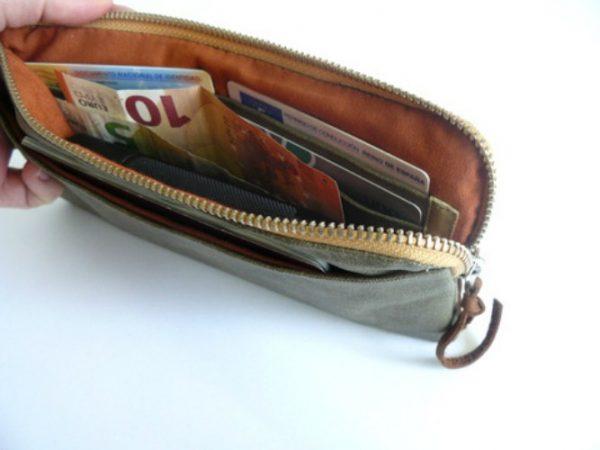 olive canvas wallet inside