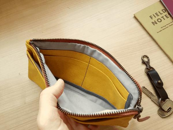 yellow wallet inside