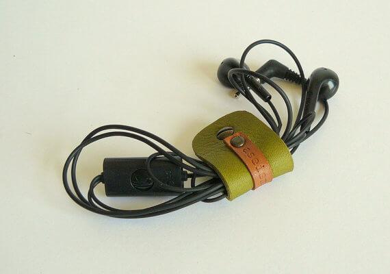 Moss green earbud holder