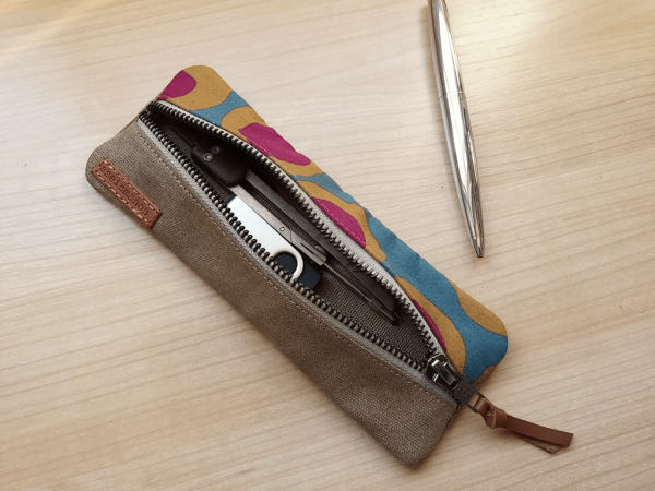 zipped pouch showing capacity