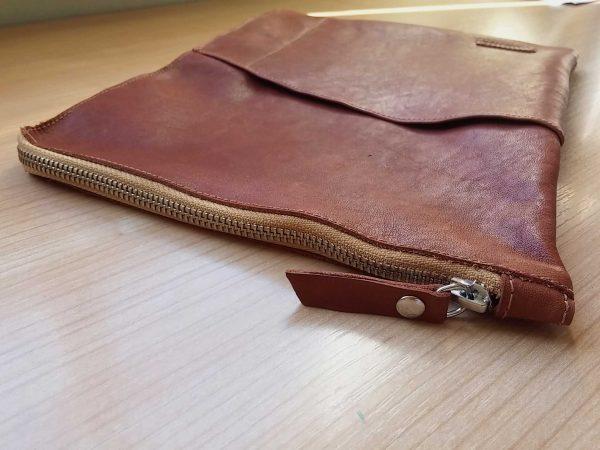 leather planner sleeve zip detail