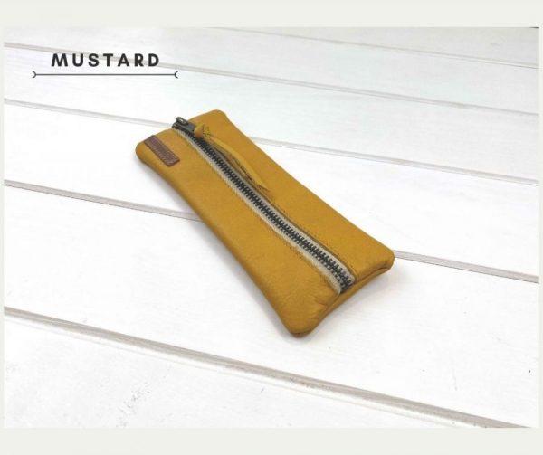 Muestard leather pencil case