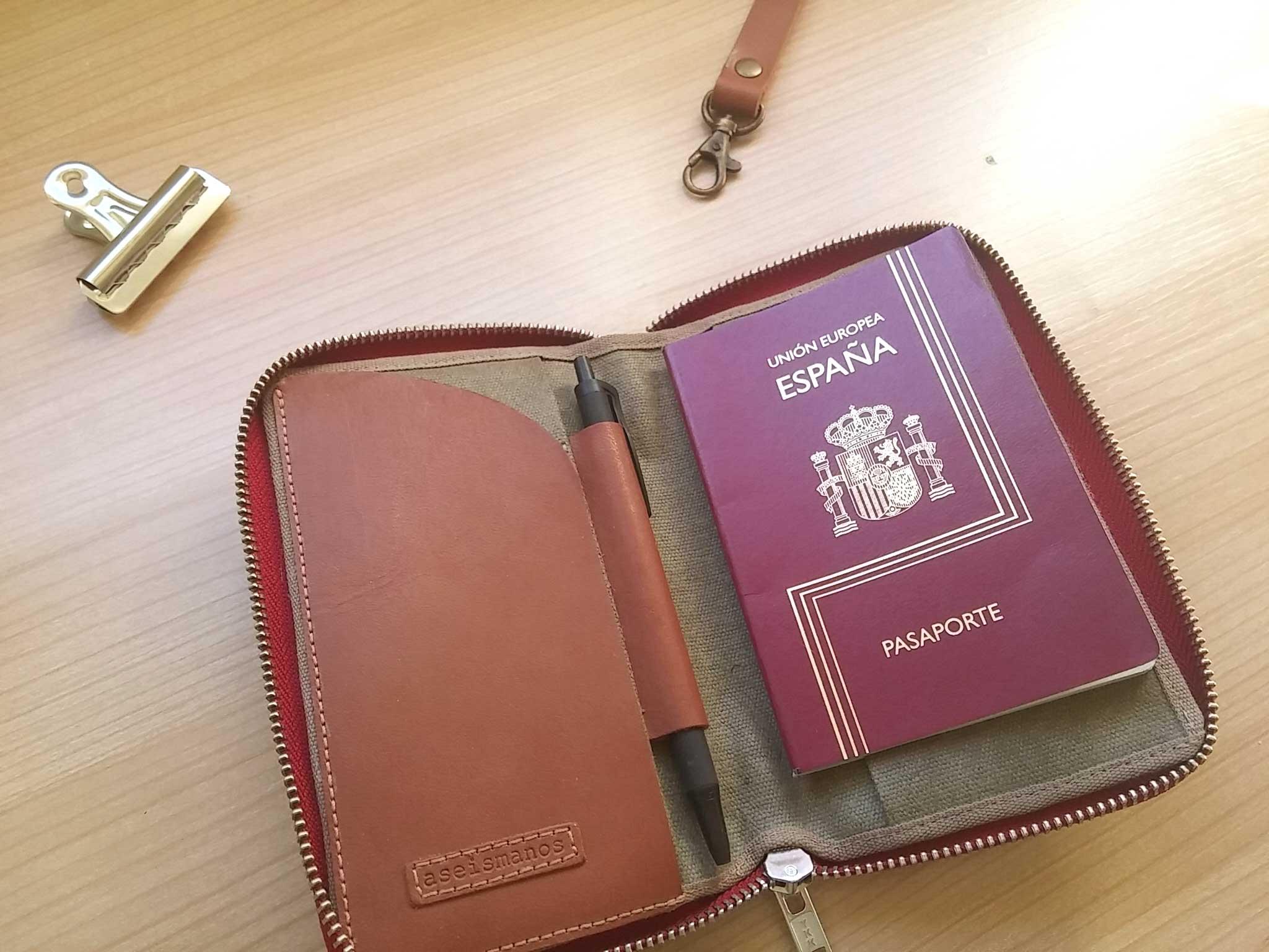 wallet holding a passport