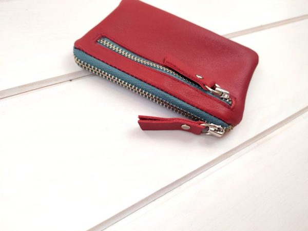 detail of red leather pocket wallet
