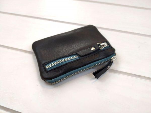 details of black leather pocket wallet