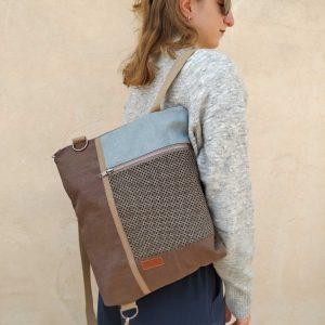 backpack on shoulder
