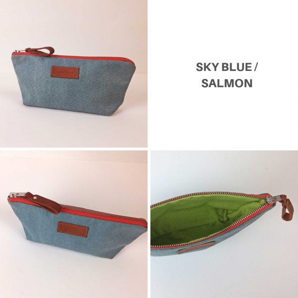 sky blue and salmon