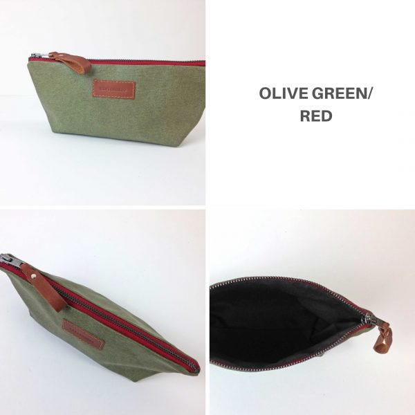olive green and red pencil case