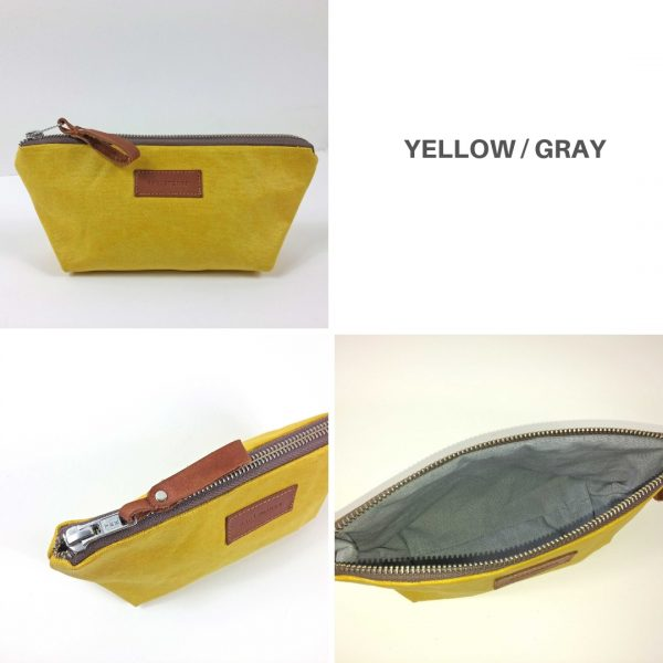 yellow and gray pencil case