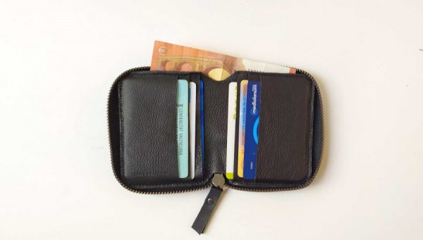 wallet with cards and notes