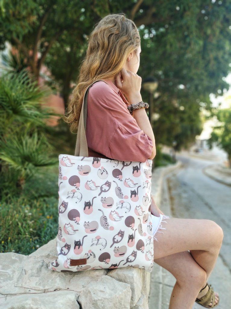 tote bag being worn
