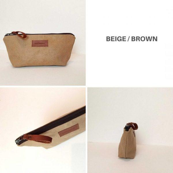 different views of beige pencil case