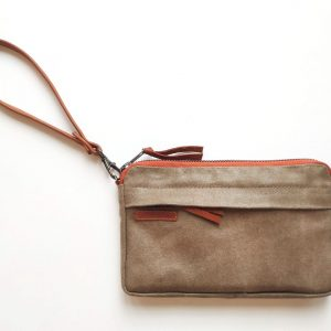 front view of pouch with wristlet
