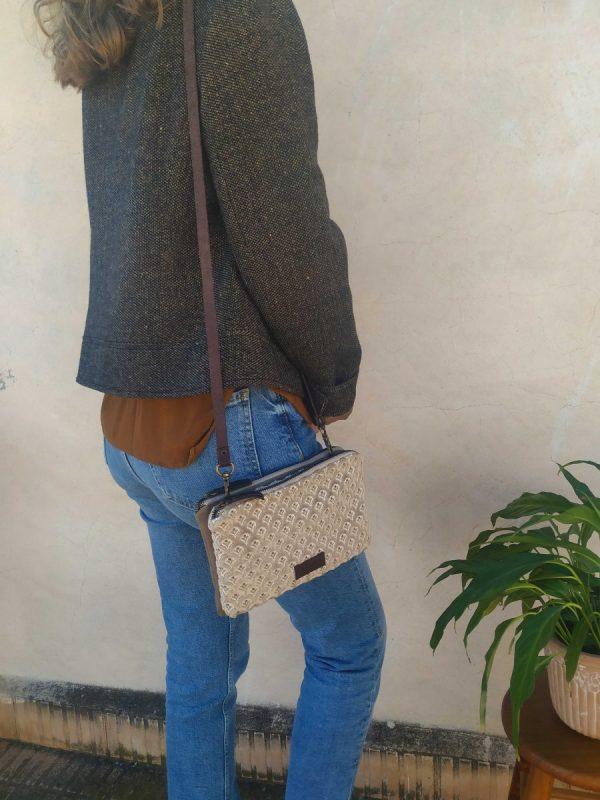 bag hanging on a shoulder