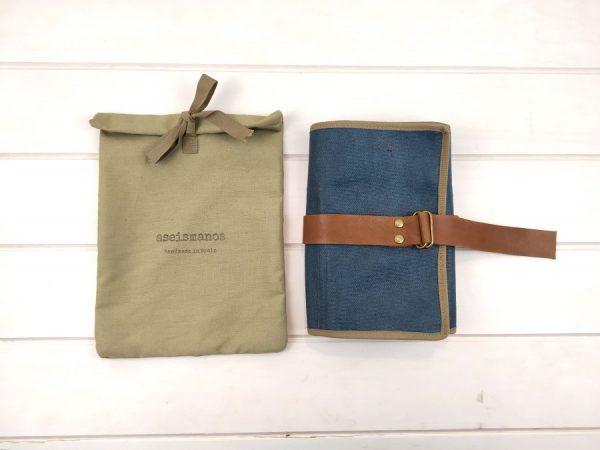 Estuche aseismanos enrollable con su packaging bolsa tela
