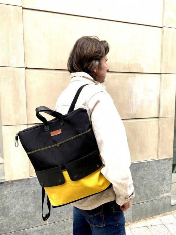 unisex backpack wearing it