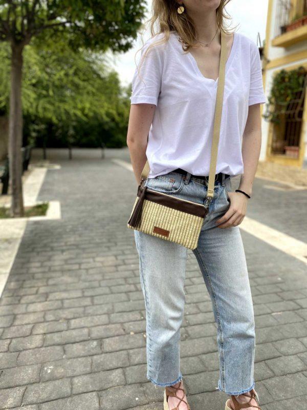 raffia bag wearing it