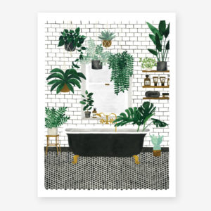 bathrrom with a bathtub and lots of plants