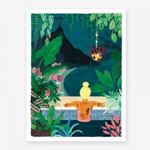 chica de espaldas en una piscina con vegetación